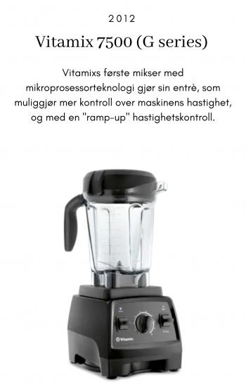 """Vitamix 7500, 2012,. Vitamixs første mikser med mikroprosessorteknologi gjør sin entrè, som muliggjør mer kontroll over maskinens hastighet, og med en """"ramp-up"""" hastighetskontroll."""