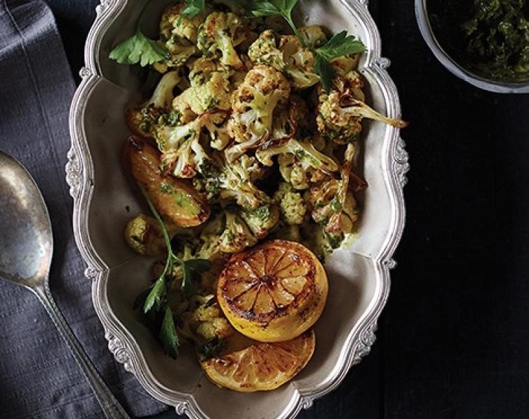 Ristet blomkål med sitron-persille saus